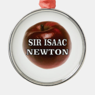 sir isaac newton apple Silver-Colored round ornament