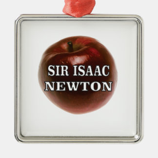 sir isaac newton apple Silver-Colored square ornament