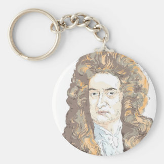 Sir Isaac Newton Basic Round Button Keychain