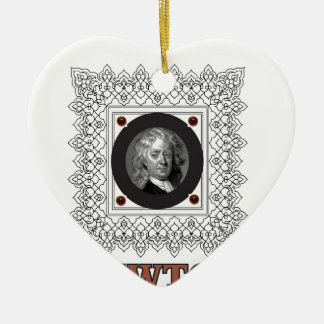 sir isaac newton ceramic heart ornament