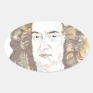 Sir Isaac Newton Oval Sticker