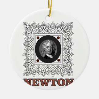 sir isaac newton round ceramic ornament