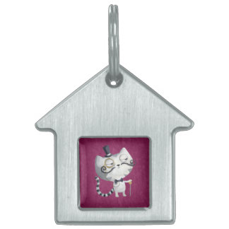 Sir Kitty Cat with Mustaches Pet Name Tag