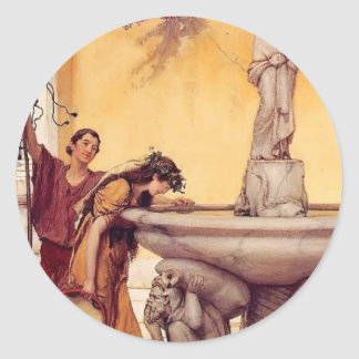 Sir Lawrence Alma-Tadema:Between Venus and Bacchus Round Sticker