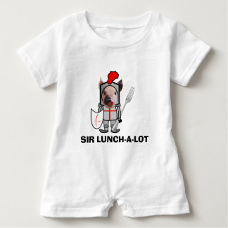 Sir Lunch-a-Lot Knighted Pig with a Fork Pacifier Baby Romper