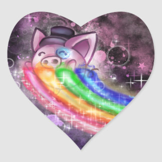 Sir Piggy in SPACE! (Riding on a Rainbow) Heart Sticker