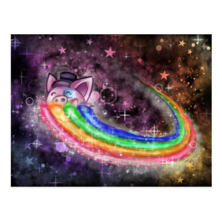 Sir Piggy in SPACE! (Riding on a Rainbow) Post Card
