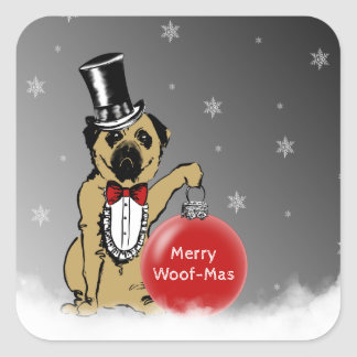 Sir Pug Dog shows your Christmas wishes! Square Sticker