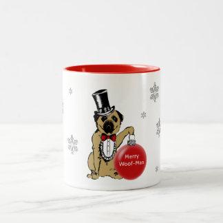 Sir Pug Dog shows your Christmas wishes! Two-Tone Coffee Mug