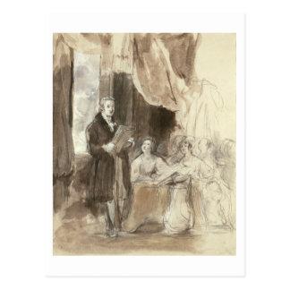 Sir Robert Peel Reading to Queen Victoria Postcard