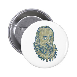 Sir Walter Raleigh Bust Drawing 2 Inch Round Button
