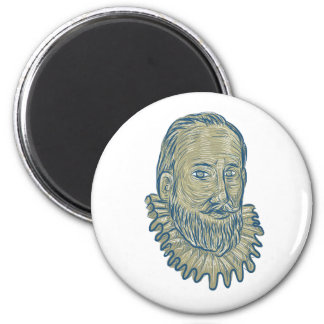 Sir Walter Raleigh Bust Drawing 2 Inch Round Magnet