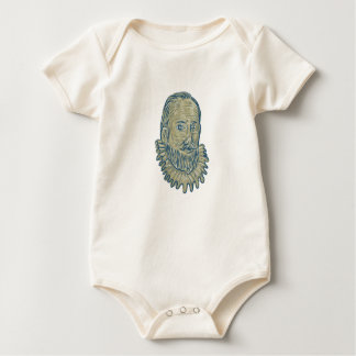 Sir Walter Raleigh Bust Drawing Baby Bodysuit