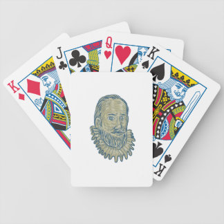 Sir Walter Raleigh Bust Drawing Bicycle Playing Cards