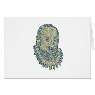 Sir Walter Raleigh Bust Drawing Card