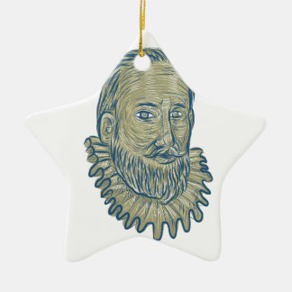 Sir Walter Raleigh Bust Drawing Ceramic Star Ornament