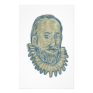 Sir Walter Raleigh Bust Drawing Customized Stationery