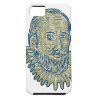 Sir Walter Raleigh Bust Drawing iPhone 5 Covers