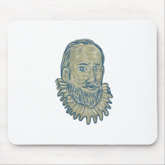 Sir Walter Raleigh Bust Drawing Mouse Pad