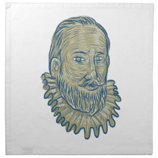 Sir Walter Raleigh Bust Drawing Napkin