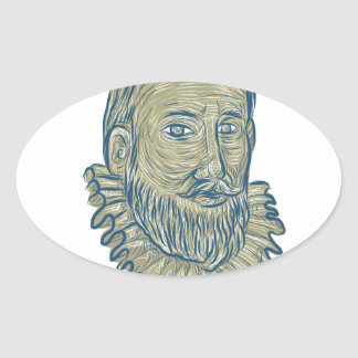 Sir Walter Raleigh Bust Drawing Oval Sticker