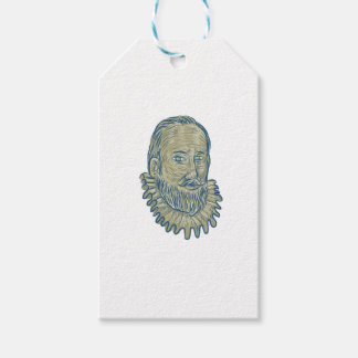 Sir Walter Raleigh Bust Drawing Pack Of Gift Tags