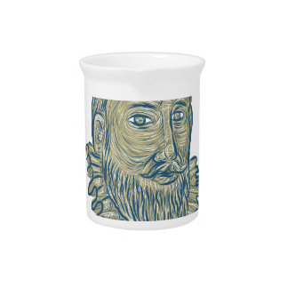 Sir Walter Raleigh Bust Drawing Pitcher
