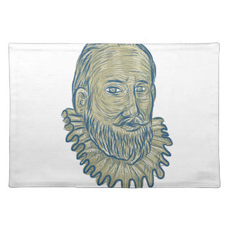 Sir Walter Raleigh Bust Drawing Placemat