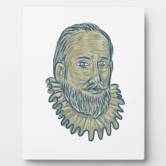 Sir Walter Raleigh Bust Drawing Plaque