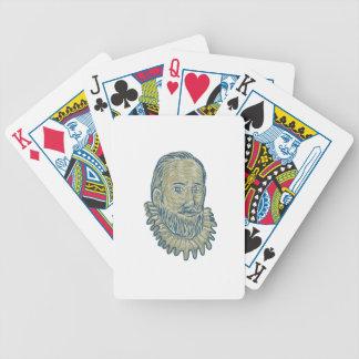 Sir Walter Raleigh Bust Drawing Poker Deck