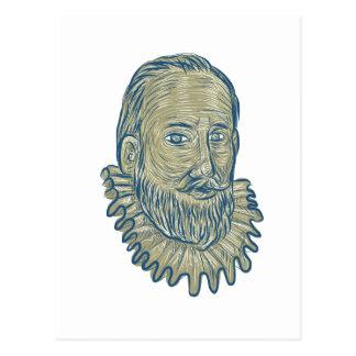 Sir Walter Raleigh Bust Drawing Postcard