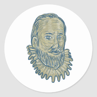 Sir Walter Raleigh Bust Drawing Round Sticker