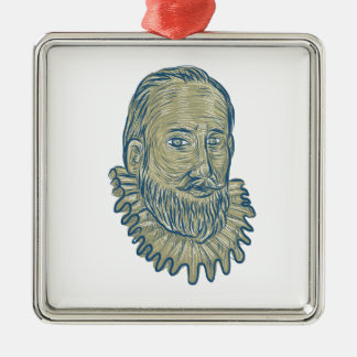 Sir Walter Raleigh Bust Drawing Silver-Colored Square Ornament