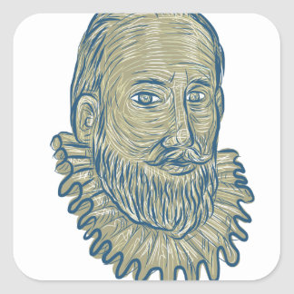 Sir Walter Raleigh Bust Drawing Square Sticker