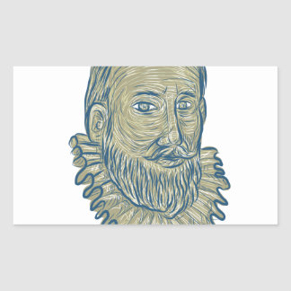 Sir Walter Raleigh Bust Drawing Sticker