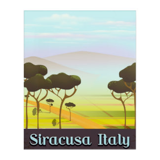 Siracusa Italy landscape travel poster. Acrylic Wall Art