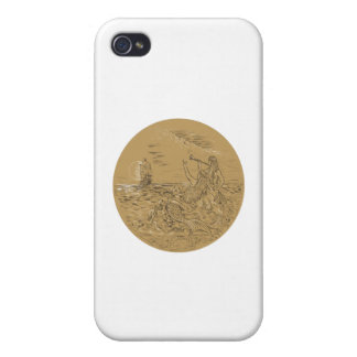 Siren On Island Waving Calling Tall Ship Circle Dr Case For iPhone 4