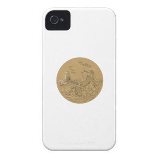 Siren On Island Waving Calling Tall Ship Circle Dr Case-Mate iPhone 4 Cases