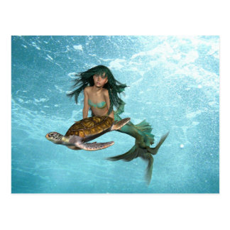 Sirène avec la carte postale de tortue de mer