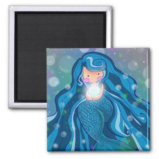 Sirène avec l'aimant lumineux de perle magnet carré