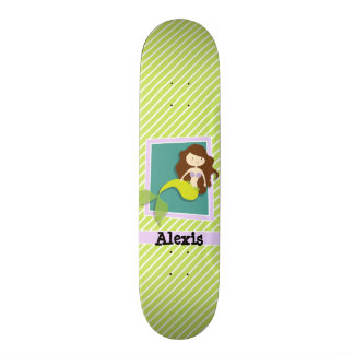 Sirène ; Rayures de vert et de blanc de chaux Plateau De Skateboard