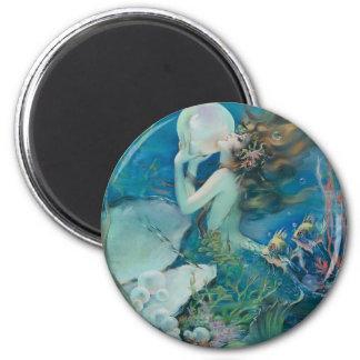 Sirène vintage tenant la perle magnet rond 8 cm