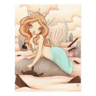 Siren's Rock - Mermaid fairy post card