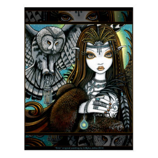 Sirin Owl Goddess Tribal Tattoo Fae Postcard