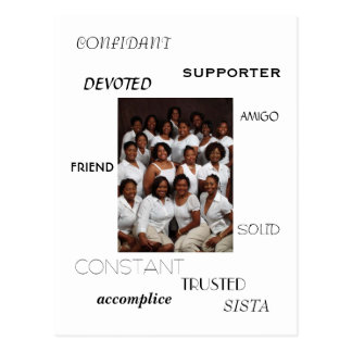SISTA, FRIEND, AMIGO, CONFIDANT, SUPPORTER, acc... Postcard
