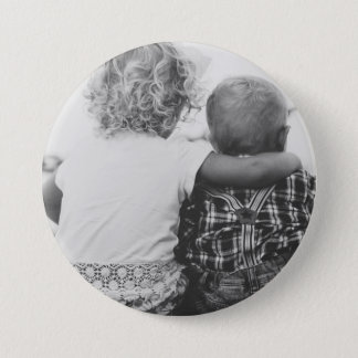 Sister and Brother Black and White Photo Button