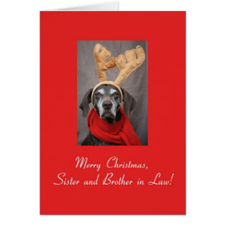 Sister and Brother in Law reindeer pointer merry x Card