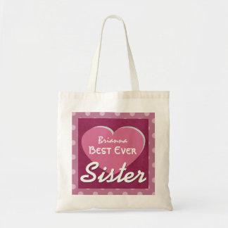 SISTER and Heart Polka Dots Custom Name V4 Tote Bag
