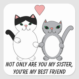 Sister Best Friend Cats Square Sticker