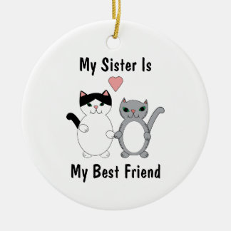 Sister Best Friend Kitty Cats Personalize Ceramic Ornament